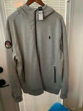 NICE !!! Polo RALPH LAUREN Gray FULL ZIP Hoodie Cotton/Poly Mix CREST (XL) $125