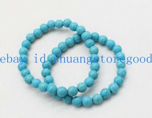Fashion 2 Pcs 6mm Natural Blue Turquoise Round Gemstone Beads Bracelet 7.5'' AAA