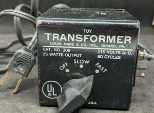 VINTAGE LOUIS MARX & CO. NO. 309 TOY (TRAIN) TRANSFORMER, 25 WATTS 115 VOLTS