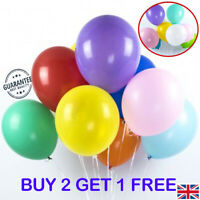 "BUY 2 GET 1 FREE - PLAIN LATEX - 10"" INCH BIRTHDAY PARTY WEDDING LATEX BALLOONS"