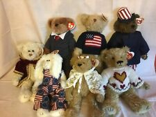 "Ty Attic Treasures Lot of 7 Plush 12"" Bears Gem, William, Hartley, Eve, American"