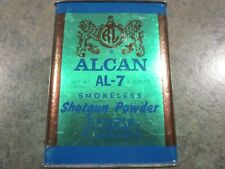 "Alcan Al-7 Smokeless Shotgun Powder Tin Tin ends cardboard center 4"" X 3"" x 3"""