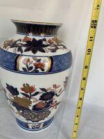 "Imari Gold Vase Handpainted Porcelain Floral Blue, White, Rust W/Gold 12"" Japan"