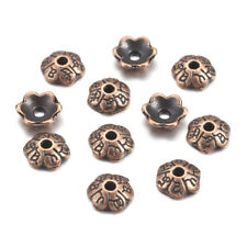 100pcs Red Copper Alloy Flower Bead Caps Carved 6-Petal Nickel Free Findings 6mm