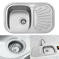 Stainless Steel Small 1.0 Bowl Inset Compact Kitchen Sink Drainer Plumbing Waste