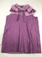 Banana Republic Purple Ruffle Tie Neck Sleeveless Top Blouse Medium M Career