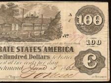 1862 $100 DOLLAR CONFEDERATE STATES CURRENCY CIVIL WAR NOTE OLD PAPER MONEY T-39