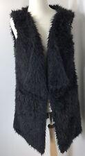 Gilet Black Fluffy Faux Fur Teddy Bear Shaggy Soft Fully Lined Fits 14 16 18 NEW