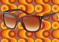 A373✪ 60er 70er Jahre Kult Hippie Sonnenbrille Schlager Hornbrille braun