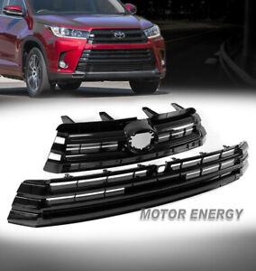 For 17-19 Toyota Highlander Front Bumper Upper+Lower Grille 2pcs Set Gloss Black