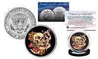 SKULL Tattoo Roses Official Legal Tender JFK Kennedy Half Dollar U.S. Coin