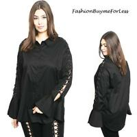 PLUS Black Gothic Steampunk Leather Lace Up Bell Sleeve Tunic Shirt Top 1X 2X 3X