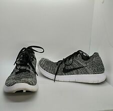 Nike Free RN Flyknit Women's 7 Running Shoes Gray Black White 831070-100