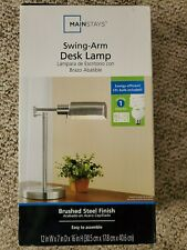 Mainstays Swing Arm Desk Lamp Black Finish CFL Bulb Included