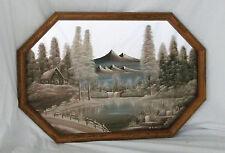 "Rare""Winter Scene Lake Cabin/Trees/Mountains"" Original Painted on Mirror-Clemons"