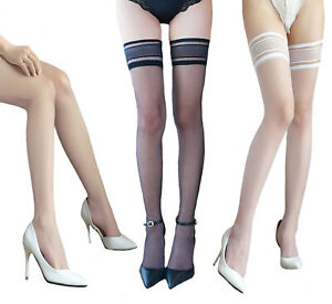NEW Womens Sheer Hold Ups Stockings 15 Denier Rubber Silicone Top Black Nude UK