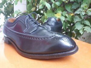 VTG Alden 588 Mens Black Leather Wingtip Oxford Shoes Size US 10 EEEE