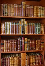 97 FINE ANTIQUE LEATHER BOOKS -  GOLD DECOR - 10 FEET OF LENGTH - FREE SHIPPING