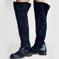 Motorcycle Biker Boot Women's Scrub Suede Over The Knee Martin Boots Shoes Size