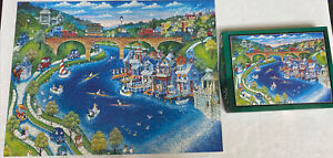 Bits & Pieces Applejack Puzzle Boathouse Row Bill Bell 550 Pc RARE NONE ON EBAY!
