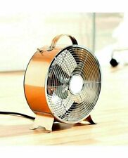 Fan Cooling Portable Desk Clock Fan Copper Effect Stylish Retro Office Home 8""