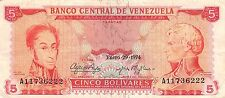 Venezuela  5  Bolivares  1.29.1974  Series A  Circulated Banknote MX81SF