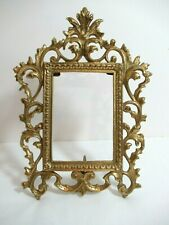 Vintage Rococo Heavy Solid Brass Picture Frame Easel Back Signed Dirilyte