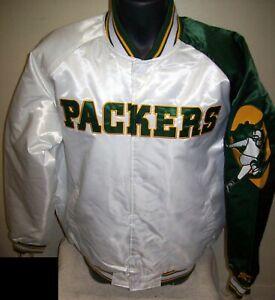 GREEN BAY PACKERS Starter Snap Down Jacket WHITE/GREEN MEDIUM, LARGE