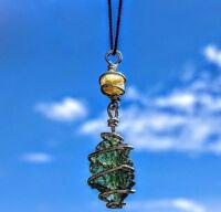 MOLDAVITE & RHODIZITE NECKLACE! Wire Wrap 925 Silver Crystal Meteorite Pendant