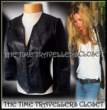 TOPSHOP KATE MOSS DISTRESSED BLACK LEATHER RIBBED CROP BIKER JACKET UK 8 36 4