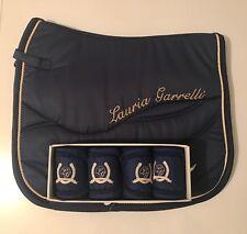 NUOVO in-Lauria Garrelli HKM Queens-Blu profondo-GEMELLE Gemelle Set-saddlepad-Bende