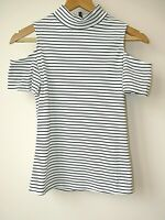 Womens Ex New Look Black & White Stripe Cold Shoulder Stretchy Top Size 6-18