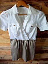 The Limited Career Work Dress Size 0 Waist Pockets & Chest pockets White/Brown