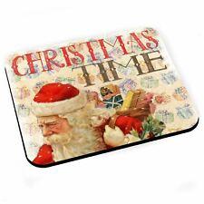 Tapis de Souris Pere Noel Cadeau Christmas Time Vintage Retro Santa Claus
