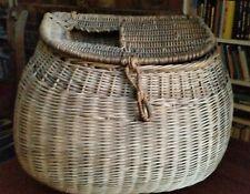 Fishing creel, basket style, bulbous shape nice leather strap