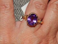 URUGUAY AMETHYST & DIAMOND RING-SIZE O-3.250 CARATS-WITH 14K GOLD