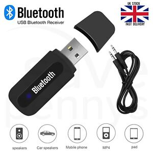 USB Bluetooth Wireless Music Receiver 3.5mm AUX Audio Stereo Car Adapter Dongle