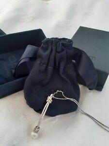 APM Monaco Pendant Chain Necklace Silver Pearl