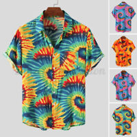 Mens Short Sleeve Hawaiian Floral Shirts Casual Loose Beach Aloha Fancy Stag Top
