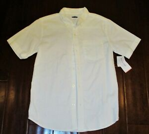 NEW Old Navy White SS Button Down Shirt Built in Flex Boys Size XL 14 16