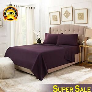NEW 25 CM DEEP FITTED FLAT SHEETS 100% POLY COTTON SINGLE DOUBLE KING SUPERKING