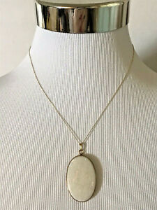 14K GOLD VINTAGE LARGE WHITE OPAL NECKLACE 2 INCH PENDANT AS IS