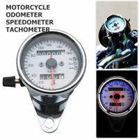 Universal Motorcycle Twin Odometer Speedometer Speed Gauge LED Signal Back Light