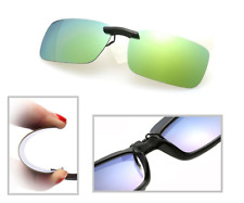 Yellow Grey Mirror Polarized Clip On Driving Glasses Sunglasses UV400 Lens