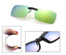 Amarillo Gris Polarizadas Espejo con Clip Conducción Gafas de Sol UV400 Lentes