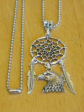 Indian Dream Catcher w/Eagle/Feather Charms Silver-Tone Pendant Necklace Men's+