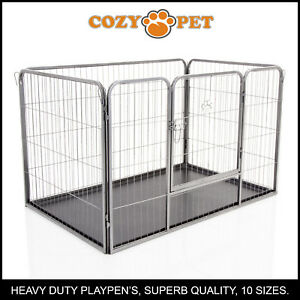 Heavy Duty Cozy Pet Puppy Playpen Run Crate Pen 75.5cm High Dog Cage - ABS Floor