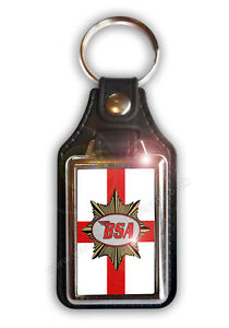BSA GEORGE CROSS FAUX LEATHER KEY RING.OFFICIALLY LICENSED BSA PRODUCT. &™ BSA