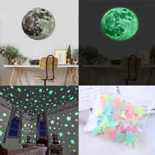 3D Large Moon & Stars Glow In The Dark Fluorescent Wall Sticker Removable Decal