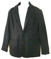 Mark Law Luxury Mens Jacket Black Unlined Casual Blazer 2 Button Cotton Size L